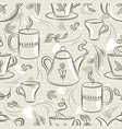 beige seamless patterns with tea set cup tea vector image vector image