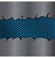 blue perforated background under metal brushed vector image vector image