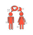 cartoon man and woman with heart icon in comic vector image vector image