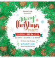 christmas coniferous frame on white background vector image vector image