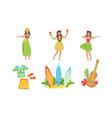 collection traditional symbols hawaiian vector image vector image