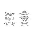 cosmetic beauty spa linear logo template badge vector image vector image