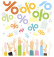 discounts falling from sky to people hands vector image vector image