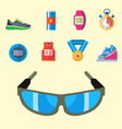 fashion dressing run sport accessory icons vector image vector image