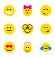 flat icon emoji set of delicious food winking vector image vector image