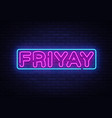 friday neon sign neon symbol vector image vector image