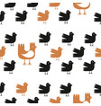 funny cartoon birds seamless pattern over white vector image
