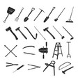 gardening tools collection - silhouette vector image