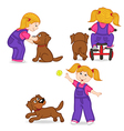 girl playing with dog vector image vector image