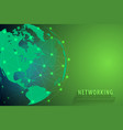 global network connection background green world vector image vector image