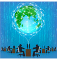 globe network connection matrix technology vector image vector image