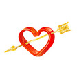 golden arrow love in heart vector image vector image