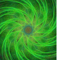 Green computer generated spiral fractal background vector image vector image