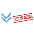 grunge indian ocean stamp and shift down vector image vector image