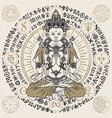 hand drawn krishna meditating in lotus pose vector image