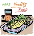 Healthy food A fish Juice vector image vector image