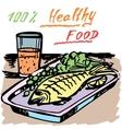 Healthy food A fish Juice vector image vector image