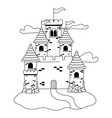 isolated castle with pennants design vector image