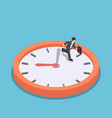 isometric businessman running on big clock face vector image vector image
