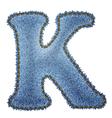 Jeans alphabet Denim letter K vector image vector image