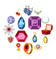 jewelry collection icons set cartoon style vector image vector image