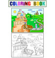kids coloring cartoon knightly castle vector image vector image
