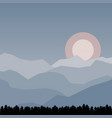 landscape with mountain peaks and sun vector image
