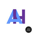 letters a and h ligature logo two letters ah sign vector image