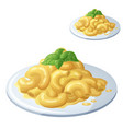macaroni and cheese isolated on white background vector image vector image