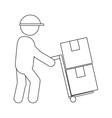 Man working transport box vector image vector image