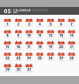 may calendar icons set date and time 2018 year vector image