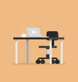 office desk with chair in flat style vector image vector image