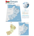 Oman maps with markers vector image vector image