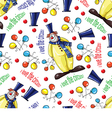 pattern with clowns and balloons vector image vector image