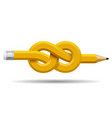 pencil distorted and tied in a knot isolated on vector image vector image