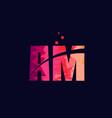 pink blue background color alphabet letter vector image vector image