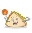 playing basketball sandwich character cartoon vector image vector image
