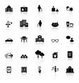 Retirement community icons with reflect on white vector image vector image