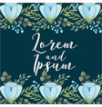 romantic wedding card blue flower background vector image