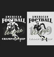 rugand american football black and white print vector image vector image