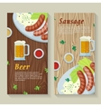 Sausage and Beer Web Banners in Flat Design vector image vector image