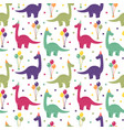 seamless pattern with dinosaurs balloons vector image vector image
