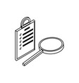 search magnifying glass with checklist vector image vector image