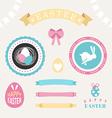 set happy easter design elements eggs ribbons vector image