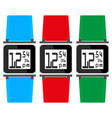 set hours with colored straps vector image