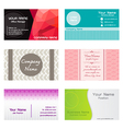 set name cards template vector image