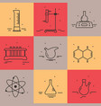 set of icons with chemical laboratory equipment vector image