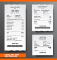 set paper check reciept and financial-check vector image