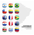 south america countries flags 3d glossy icons set vector image