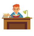 student boy reading book in library sitting at vector image vector image
